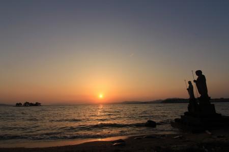 宍道湖の夕陽、広角!