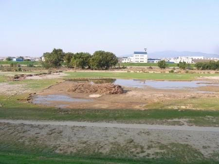 猪名川河川敷も台風の影響が