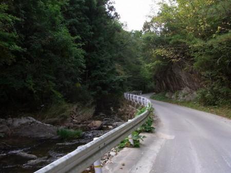川沿いをダム方面へ