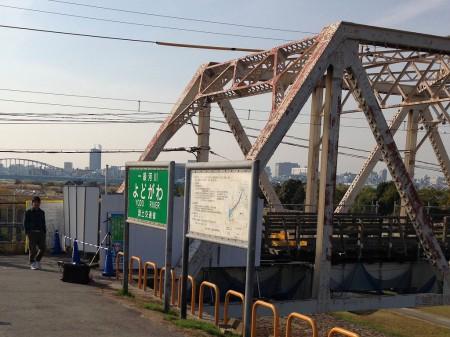 通行不可の赤川仮橋