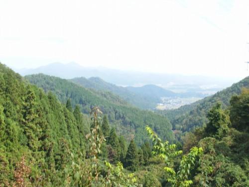遠くに篠山の街並みが見える